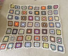 Vintage Crocheted Afghan Blanket Lap Throw Flower Granny Square 46x 52.