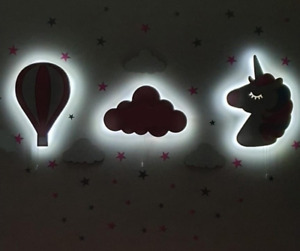 Childrens Night Lights Wooden 9V LED Kids Nursery Wall Decor Baby Shower Gift