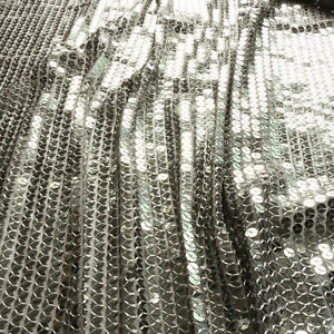 """Sequin fabric - Sewn on 7mm sequins - Silver - Dress fabric - 52"""" wide"""