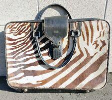 Authentic Zebra Skin Luggage - Recently Restored - Real Zebra Skin - Free Ship