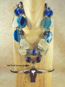 Western Cowgirl Necklace Set Chunky Blue Agate & Beige Jasper - Texas Longhorn