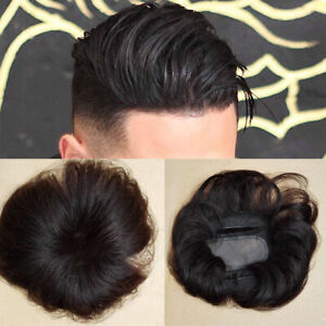 Men Women Natural Mono Topper Clip in Remy 100%  Human Hair Cover Loss Hairpiece