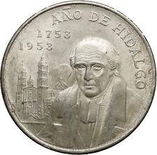 1951 Mexico Independence Hero Hidalgo METROPOLITAN CATHEDRAL Silver Coin i53094