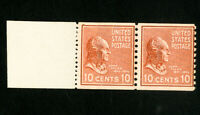 US Stamps # 847 F+ End roller pair OG NH