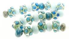 OliveStuart Handmade Lampwork Beads 25 blue silvered glass round