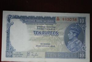 India - British, (ND) 10 Rupees, Pick #19a, Extremely Fine,                10-23