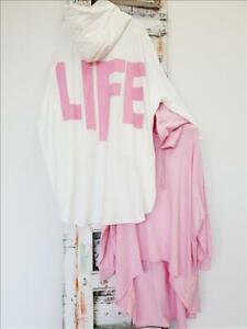 38 40 42 44 46 48 Italy oversize Vokuhila Sweatshirt LIVE Sweatshirt Hoodie rosa