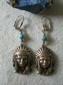 Ohrringe Indianer Kopf mit türkiser Perle