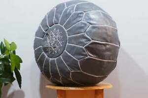 Moroccan Ottoman Grey with Stitching Leather Pouf ottoman pouf morrocan unstufed