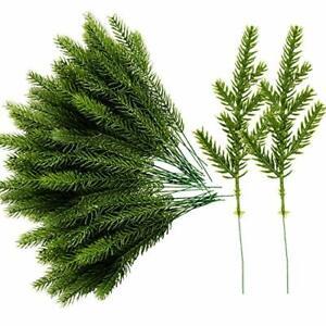 Alpurple 60 Packs Artificial Pine Needles Branches Garland-6.7x2.0 Inch Green P