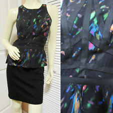 CHARLIE JADE Womens Black Sheath Peplum Dress S Sleeveless Bandage Pencil Neon