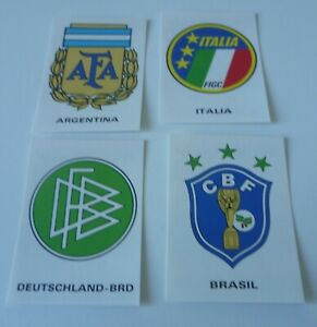 Panini World Cup Story * Badge Stickers Brazil, Italy, Germany, Argentina * Mint