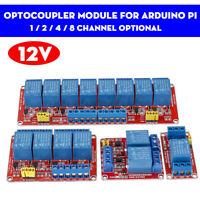 12V 1/ 2/4/ 8 Channel Relay High Low Level Optocoupler Module For Arduino PI +