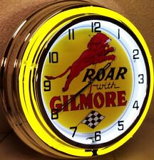 "18"" Roar with GILMORE Sign Double Neon Clock"