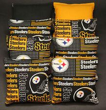 Cornhole Yellow Black Steelers Fans Boards BEANBAG TOSSGAME w Bags Set 1486