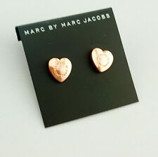 Hot Sale Marc by Marc Jacobs Rose Gold Logo Letters Heart Stud Earrings #E0324