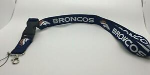 Denver Broncos Lanyard ID Badge Key Chain Clip Face Mask Holder Strap Saver
