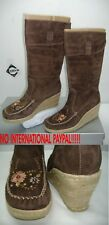 New  Womens 7 REPORT Ataani Brown Genuine Suede Leather Snow Boots $99