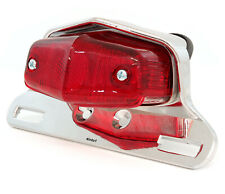 Lucas Style Motorcycle Tail Light Assembly - Chrome w/ Red Lens