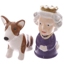 Salt & Pepper/Condiment/Cruet Set ~ QUEEN & CORGI