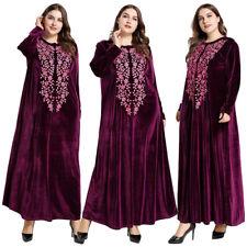 Muslim Velvet Embroidery Women Long Sleeve Maxi Dress Abaya Kaftan Cocktail Robe