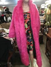 Faux Fur Coat.. Long ..Hot Pink with Black Quilting..Reversable