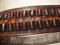 Western BANDOLIER BANDOLERO Strap Belt 30-30 Caliber Ammo. Brown 2 tone Leather