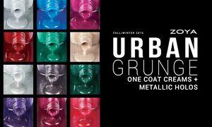 Zoya 2016 Urban Grunge Creme & Metallic Holo Collection Nail Polish Lacquer