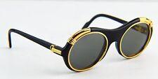 Auth Cartier C Decor Diabolo Gold Plated Black Sunglasses 130 53 21
