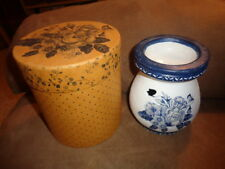 Candle Tart Warmer Lang Melting Pot WHITE 2003 FLORAL BLUES Sherri Buck Baldwin