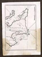 Roux - Grece Cefalunia - Stampa Portolano Grecia - Isola di Cefalonia - 1779