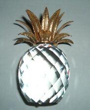 "1986 Rare Swarovski Crystal Large Gold Pineapple Candle Holder 4.5"" Retired"
