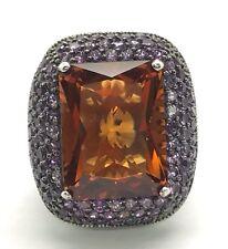 Sterling 925 Emerald Cut Orange Citrine - Purple Amethyst Cluster Statement Ring