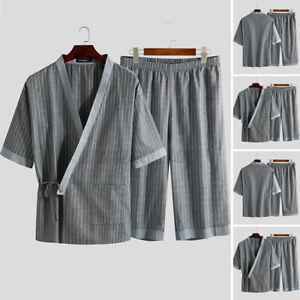 Mens Kimono Pajamas Set Striped Yukata Nightwear Japanese Tops Shorts Sleepwear