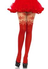 Spandex Red Snowflake Opaque Tights W/Sheer Thigh Accent, Christmas Party, Xmas