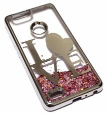 For ZTE ZMAX PRO 2 SILVER LOVE Pink Glitter Star Liquid Sparkle Skin Case Cover