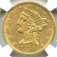 1880-CC $5 Gold Liberty Half Eagle, NGC AU-55, Flashy Gold Coin, Nice Rare Date!