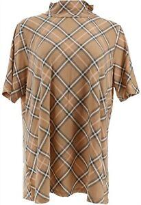 Isaac Mizrahi Mock-Neck Plaid Elbow Slv Knit Top Medium Camel L NEW A368220