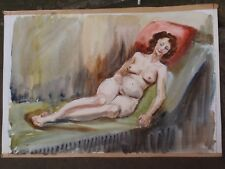 VINTAGE 1960 SKETCH NUDE WOMAN LADY WATERCOLOUR PAINTING ON PAPER