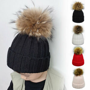Kids Child Baby Beanie Hat Boys Girls Winter Warm Fur Pom Pom Bobble Knit Cap UK