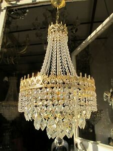 Antique Vnt French basket style Crystal Chandelier Lamp 1940's 14in Diameter-...