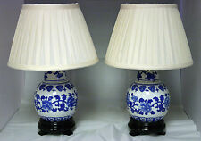Pair of Hand Painted Oriental Table/Bedside Lamps & Shades