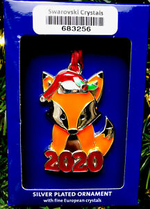2020 Santa Fox Holiday Ornament Harvey Lewis Xmas w Swarovski Elements Crystals