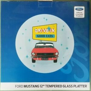 Ford Mustang 12 Inch Tempered Glass Platter Man Cave