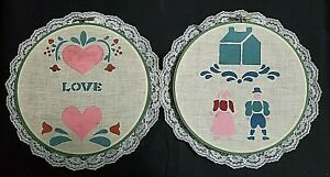 2 Farmhouse Hanging Decor-Embroidery Hoops - Painted Fabric, Trimmed in Lace