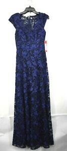 Carmen Marc Valvo Infusion Womens Navy Blue Embroidered Lace Evening Gown 2