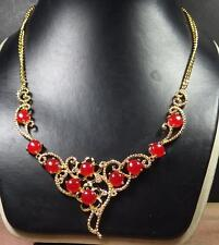 Gold Plate red JADE Cabochon Bead Beads Necklace Diamond Imitation 286854 US