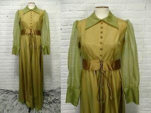 Vintage 1970s Emma Domb Corset Maxi Dress Sz S M Party Prom Avocado Green