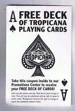 Tropicana Hotel Casino Free Deck Of Cards Coupon Las Vegas Nevada