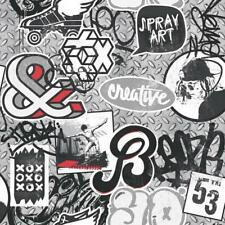 Wallpaper Muriva - Scrap Metal - Graffiti Spray / Skater Iron Paint - Red L15810